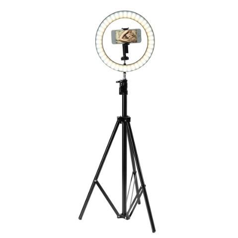 Кольцевая LED селфи лампа диаметр 26 см. + Штатив 2 метра Белый