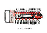 """Набір головок торцевих з тріщаткою YATO квадрат- 1/2"""" 8-32 мм 38 мм 19 шт"""