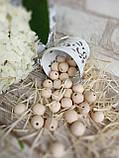 Натуральні дерев'яні намистини круглі, 50 шт, діаметр - 1,3 див., 15 гр., фото 5