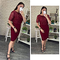 """Стильное  женское платье с цветочной вышивкой из органзы ткань """"Костюмная"""" 48, 50, 52, 54 размер батал 48"""