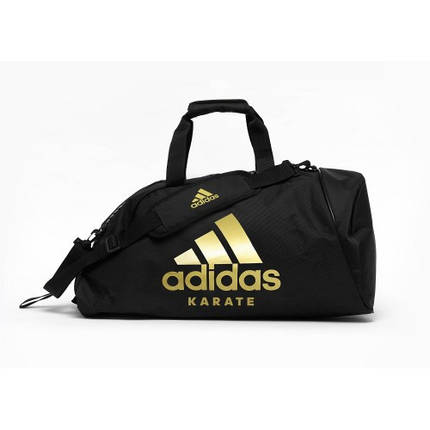 Сумка-рюкзак (2в1) с золотым логотипом Adidas Karate (черный, ADIACC052K), фото 2