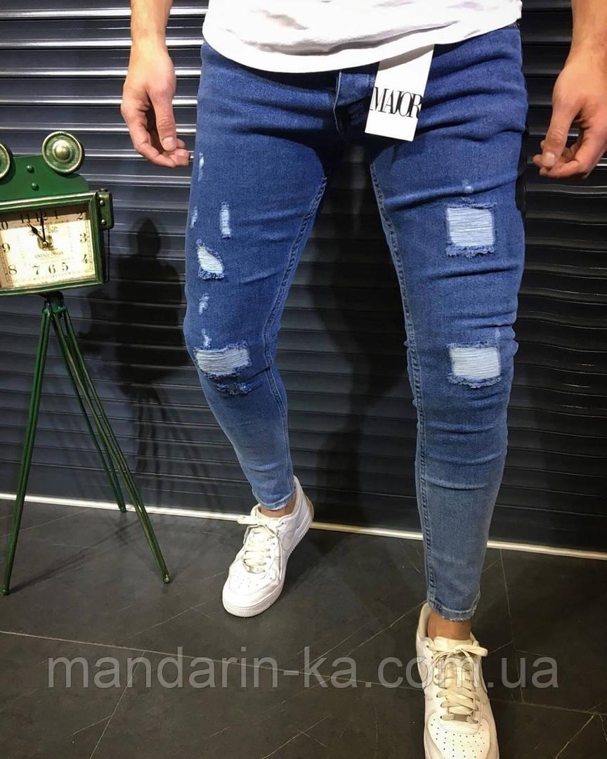 Джинсы мужские синие брендовые рваные