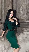 Трикотажное изумрудное платье футляр 152, фото 1