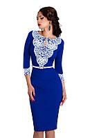 Стильное синее платье футляр 147