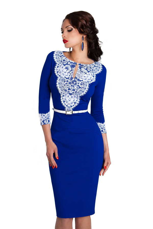 Стильное синее платье футляр 147 - Производитель женской одежды