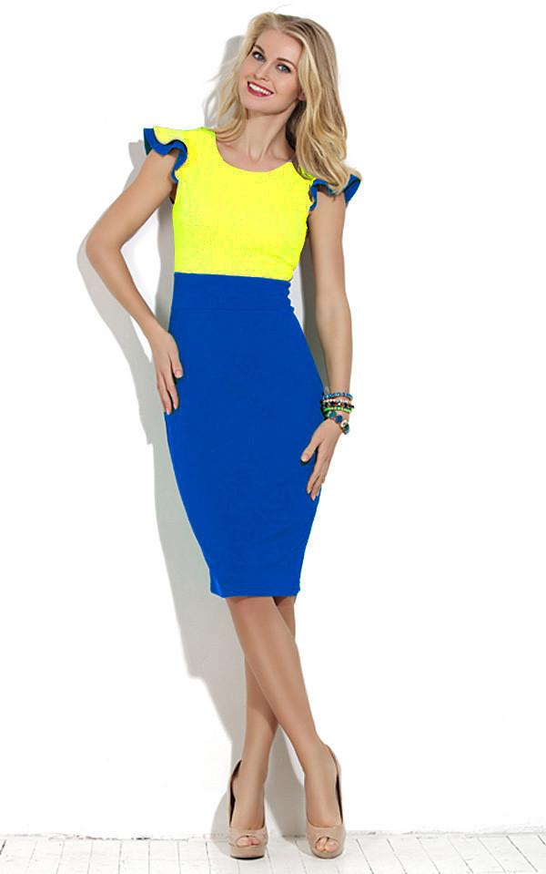 1ef66a187c2 Желто синее платье от Lusien - Производитель женской одежды
