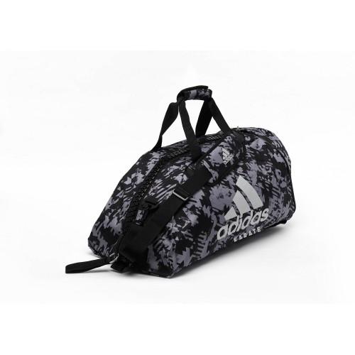 Сумка-рюкзак (2в1) с серебряным логотипом Adidas Karate (серый камуфляж, ADIACC058K)