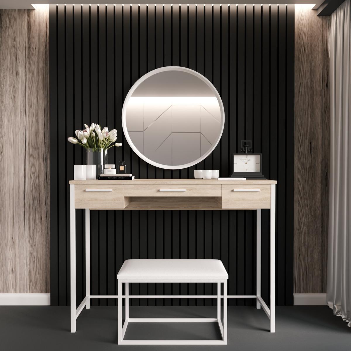 """Туалетный столик с банкеткой и зеркалом """"Нефертити Белый"""""""