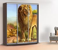 Наклейка на шкаф купе с зверями рисованными в детскую двери, стены 240 х 100 см с защитной ламинацией