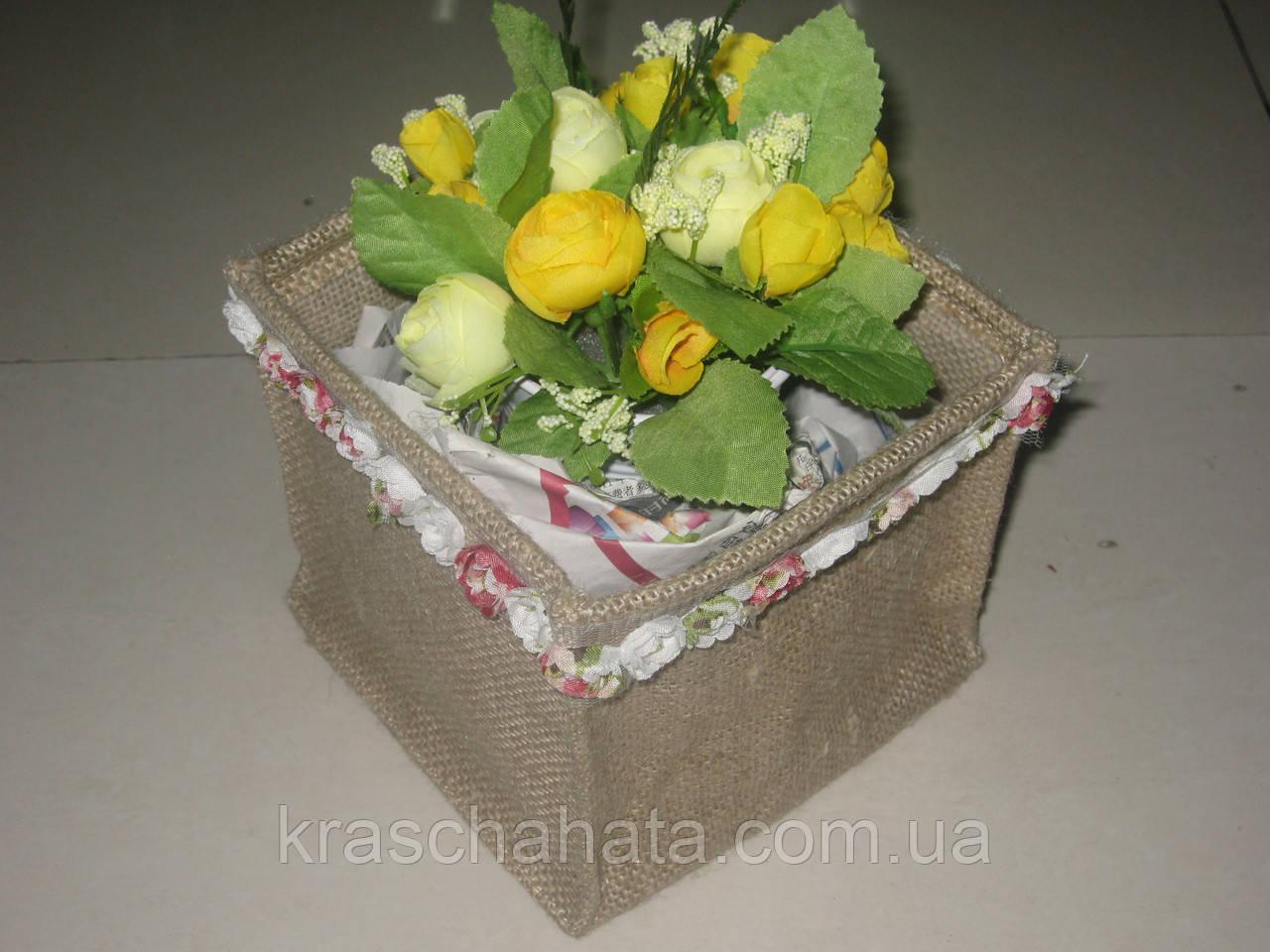 Чехол для кашпо,14x14х13,5 cм, мешковина, Упаковка из мешковины, Днепропетровск