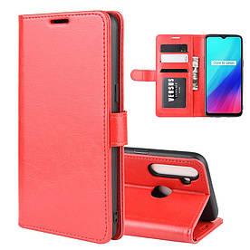 Чехол книжка для Realme C3 боковой с отсеком для визиток, Гладкая кожа, Красный