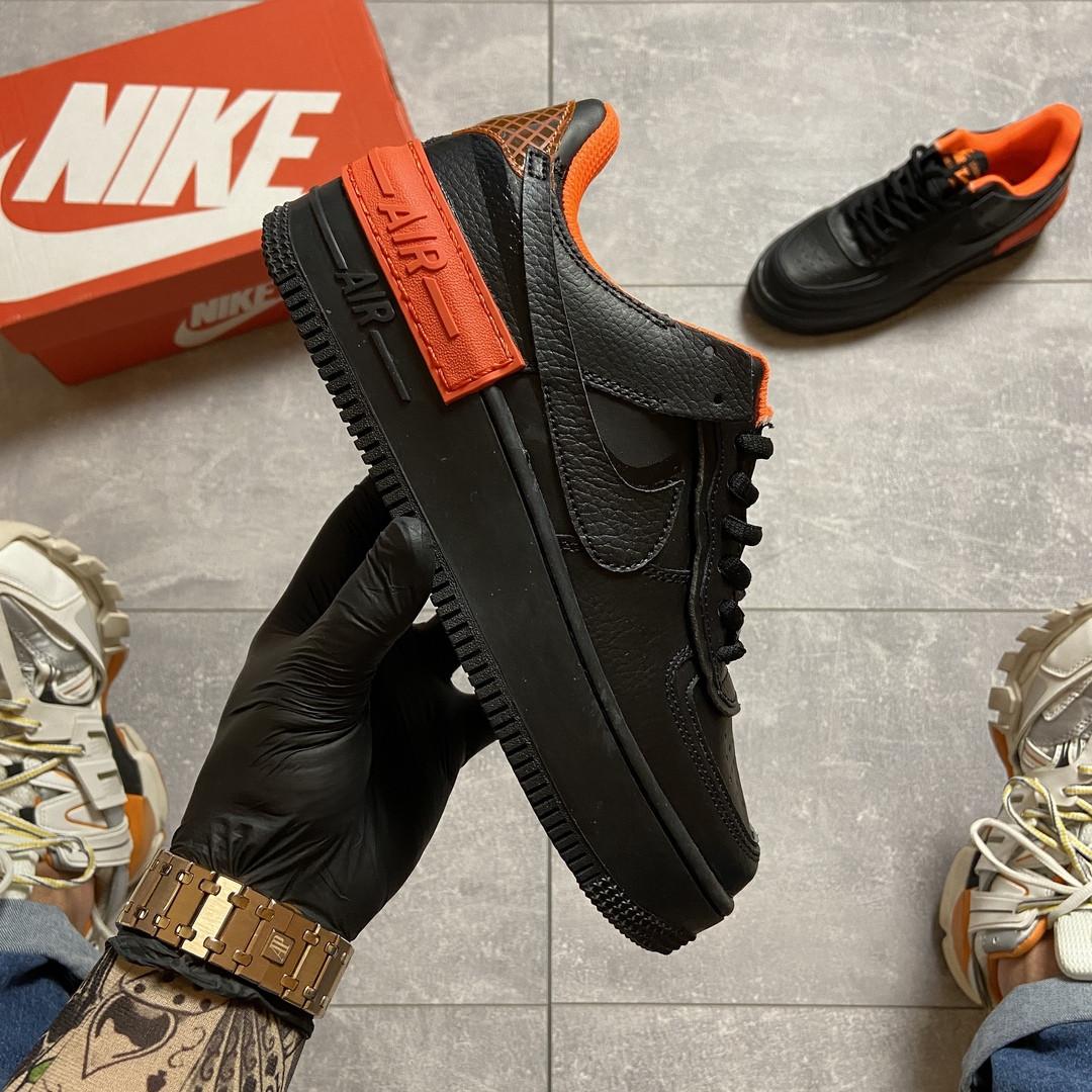 Жіночі кросівки Nike Air Force 1 Shadow Black Orange.