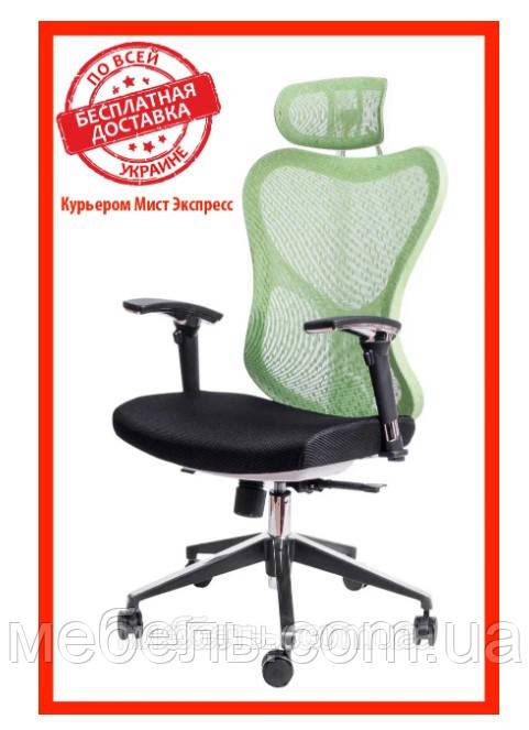 Кресло для врача Barsky Fly-04 Butterfly White/Green, сеточное кресло, белый / зеленый