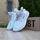Мужские кроссовки Adidas Yeezy Boost 350 Серые с белым полный рефлектиф, фото 6