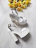Женские белые кожаные босоножки на высоком каблуке и платформе ТМ Bona Mente, фото 5