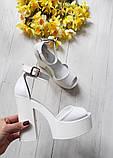 Женские белые кожаные босоножки на высоком каблуке и платформе ТМ Bona Mente, фото 6