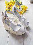 Женские белые кожаные босоножки на высоком каблуке и платформе ТМ Bona Mente, фото 4