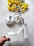 Женские белые кожаные босоножки на высоком каблуке и платформе ТМ Bona Mente, фото 3