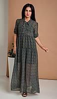 Шифоновое женское платье макси свободного кроя зеленый принт 44-46, 48-50, 52-54