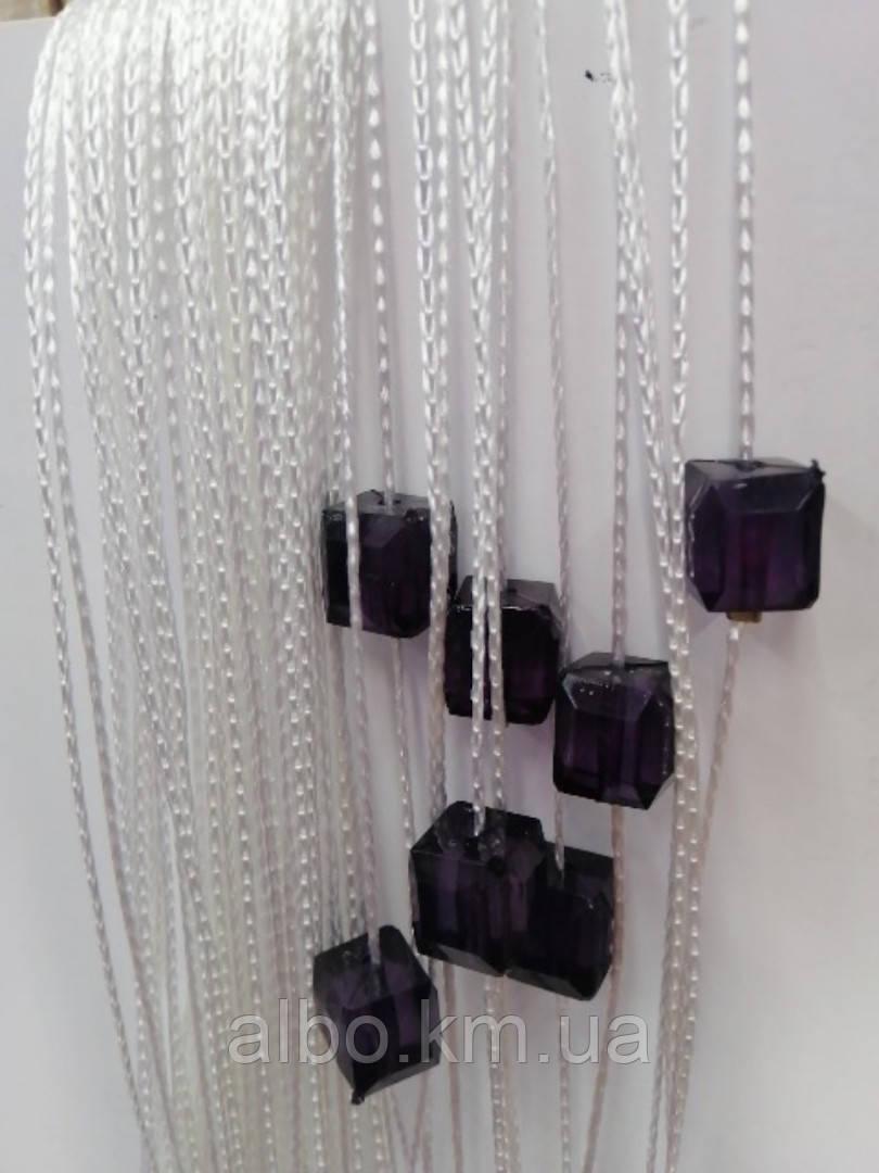 Кисея шторы с камнями радуга 300x280 cm Бело-фиолетовые (Ki-5009)