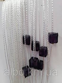 Кисея шторы с камнями радуга 300x280 cm Бело-фиолетовые (NK-725)