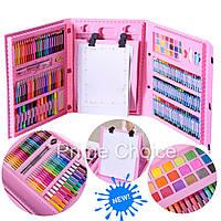Набор для рисования и творчества в чемоданчике с мольбертом, Art Set 208 предметов Розовый, Для детей