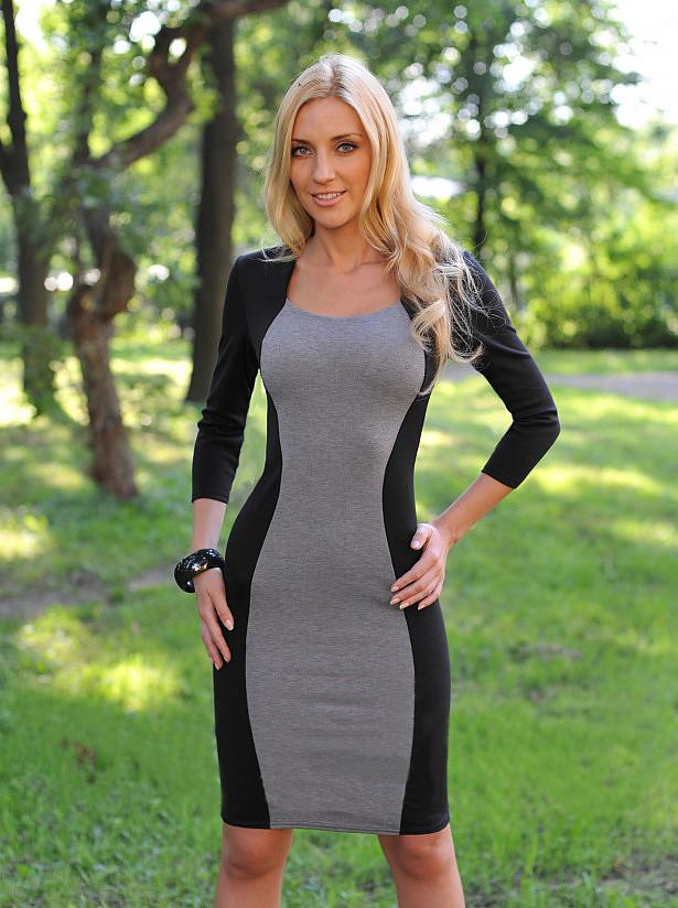 Деловое трикотажное платье  Q01, фото 1