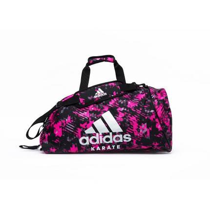 Сумка-рюкзак (2в1) с серебряным логотипом Adidas Karate (розовый камуфляж, ADIACC058K), фото 2