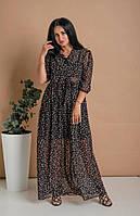 Нежное летнее длинное платье из принтованого шифона черное 44-46, 48-50, 52-54