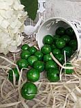 Зеленые деревянные бусины круглой формы, 30 шт,  диаметр - 2 см.,  15 гр., фото 3