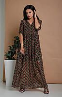 Молодежное длинное платье кроя трапеция с рукавчиком три четверти черное в красные цветы 44-46, 48-50, 52-54