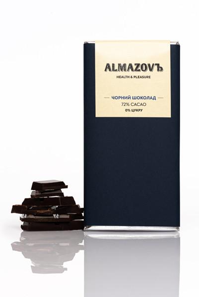 Шоколад чорний 72%, 80 г, Almazovъ