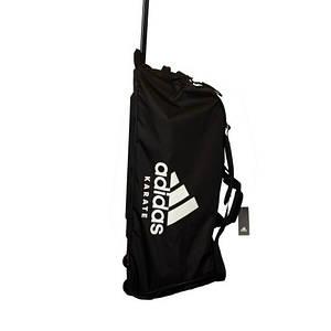 Дорожная сумка на колесах с белым логотипом Adidas Karate (черная, ADIACC057K)