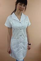 Медицинский женский халат Женева рубашечная ткань короткий рукав, фото 1
