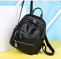 Женский стильный рюкзак из кожзама черный