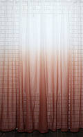"""Тюль растяжка """"Омбре"""" на батисте (под лён) с утяжелителем, цвет терракотовый с белым 577т, фото 1"""