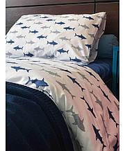 Набор постельного белья полуторный бязь Акулы