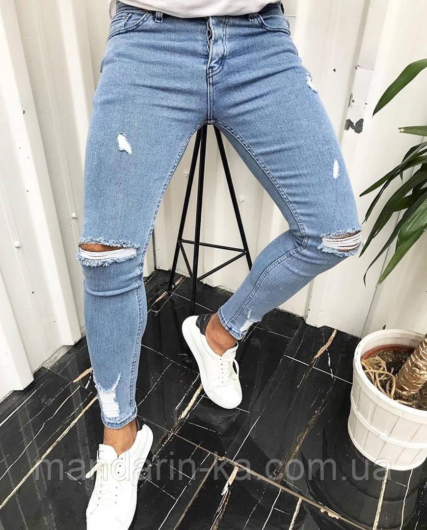 Стильні чоловічі джинси блакитні рвані