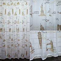 """Тюль готовая """"Неополь"""" с принтом, цвет бежевый с коричннивым рисунком. Код 582т, фото 1"""