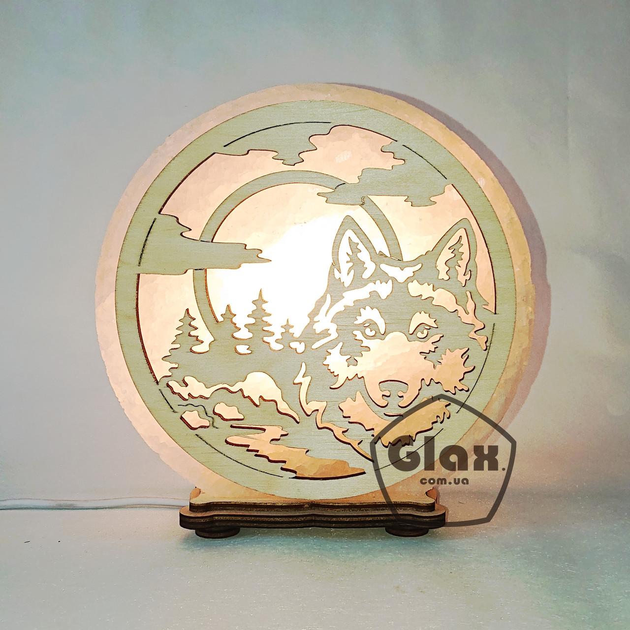 """Соляна лампа світильник """"Вовк і Місяць"""""""