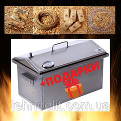 Домашняя коптильня для горячего копчения домик с термометром 520х300х310