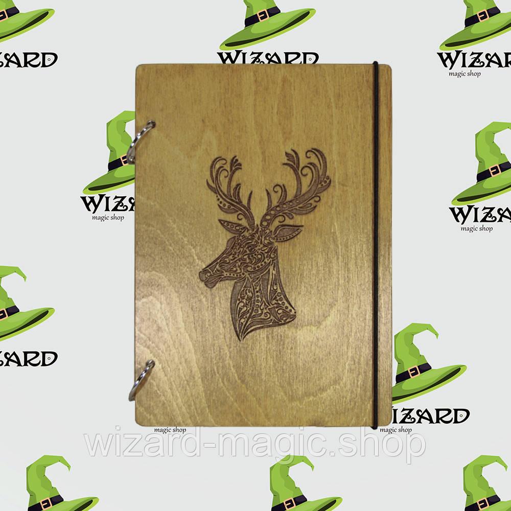 Деревянный блокнот А6 Олень (мореное дерево)
