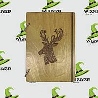 Деревянный блокнот А6 Олень (мореное дерево), фото 1