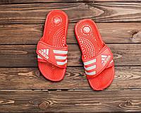 Мужские красные тапки шлепки сланцы Adidas тапочки адидас реплика