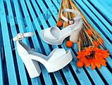 Женские белые кожаные босоножки на высоком каблуке и платформе ТМ Bona Mente, фото 7