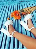 Женские белые кожаные босоножки на высоком каблуке и платформе ТМ Bona Mente, фото 8
