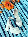 Женские белые кожаные босоножки на высоком каблуке и платформе ТМ Bona Mente, фото 9