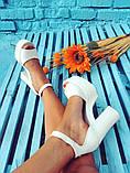 Женские белые кожаные босоножки на высоком каблуке и платформе ТМ Bona Mente, фото 10
