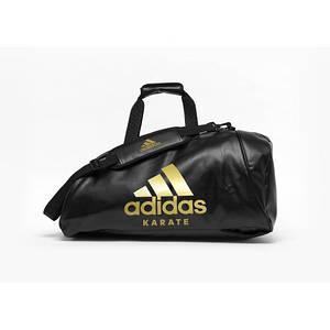 Сумка-рюкзак (2в1) с золотым логотипом Adidas Karate (черная, ADIACC051K)