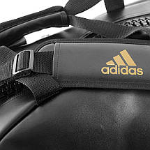 Сумка-рюкзак (2в1) с золотым логотипом Adidas Karate (черная, ADIACC051K), фото 3
